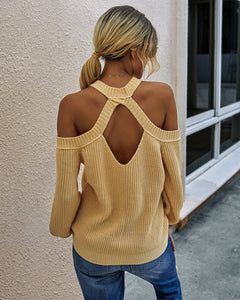 Women Solid Color  Off Shoulder Loose Pullover
