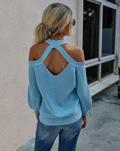Load image into Gallery viewer, Women Solid Color Off Shoulder Halter Neck Sweater