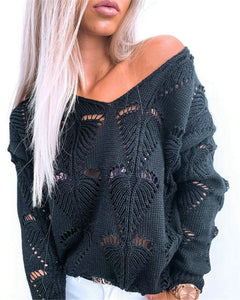 Solid Color Hollow Out V Neck Long Sleeve Knitted Sweater