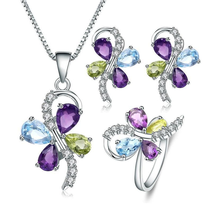 Products Sterling Silver Natural Amethyst Peridot Topaz Butterfly Jewelry Set