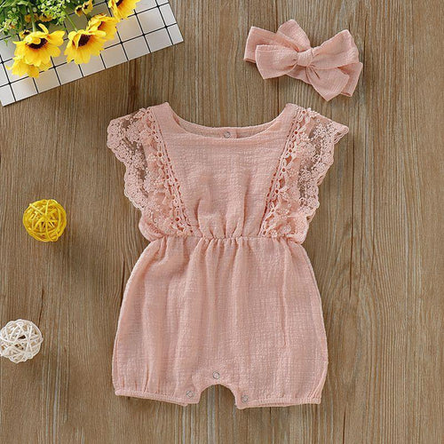 Baby Girls Lace Ruffle-sleeve Ramie Cotton Romper Headband Set - Peril