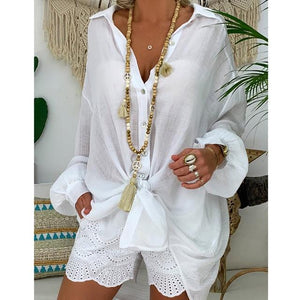 Loose Casual Linen Blouse Shirts - Peril