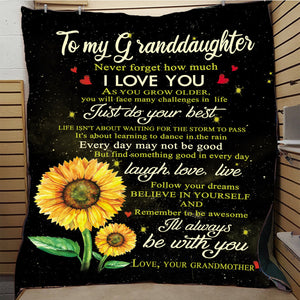 To My Granddaughter Quilt Print  Blanket - Peril