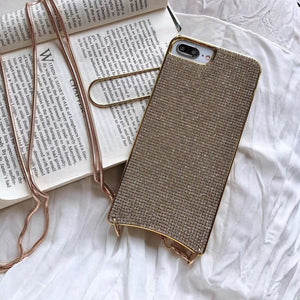 Luxury Diamond Case + Metal Necklace Cross Body Strap For iPhone - Peril