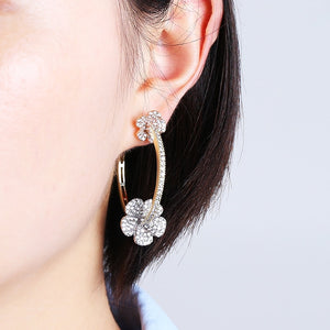 Luxury Gold Plated Zircon Round Hoop Earrings - Peril