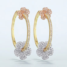 Load image into Gallery viewer, Luxury Gold Plated Zircon Round Hoop Earrings - Peril