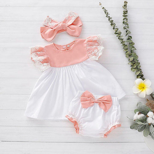 3-piece Baby Lace Ruffled Floral Sleeveless Top, Bowknot Shorts and Headband - Peril