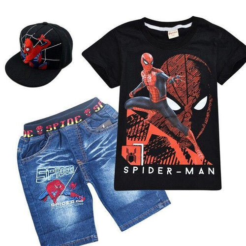 3pcs Boys Spider Man T Shirt+Short Pant+Hat - Peril