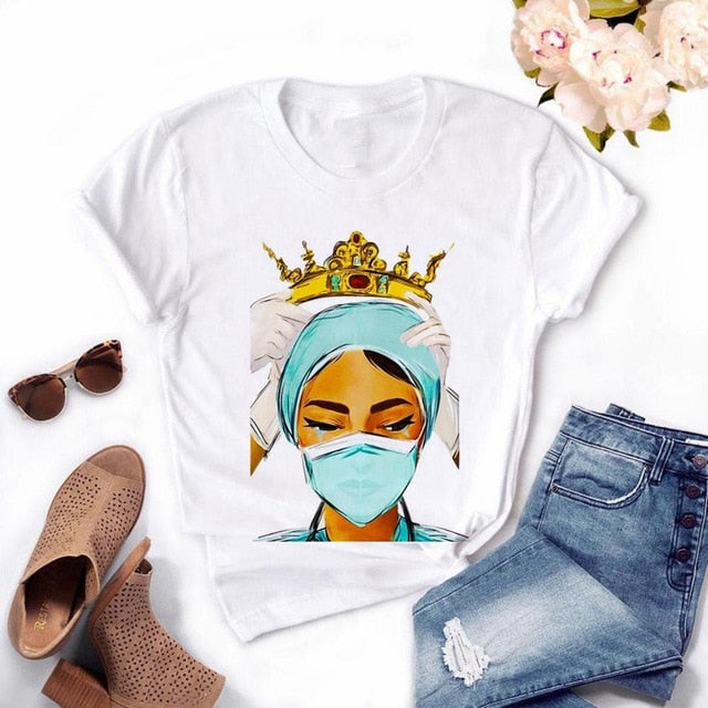 Women's Casual  Nurse Queen  Printed T-shirts