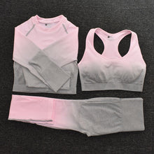 Load image into Gallery viewer, Seamless Leggings Long Sleeve Crop Top  Sports Bra Set