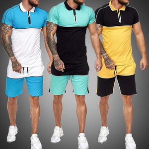 Colorblock Half Zip T Shirt And Drawstring Shorts Set - Peril