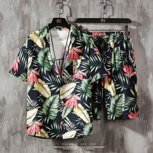Load image into Gallery viewer, Summer Sets Men Casual Beach Wear - 2 Piece Set Printed Shirt + Shorts - Peril
