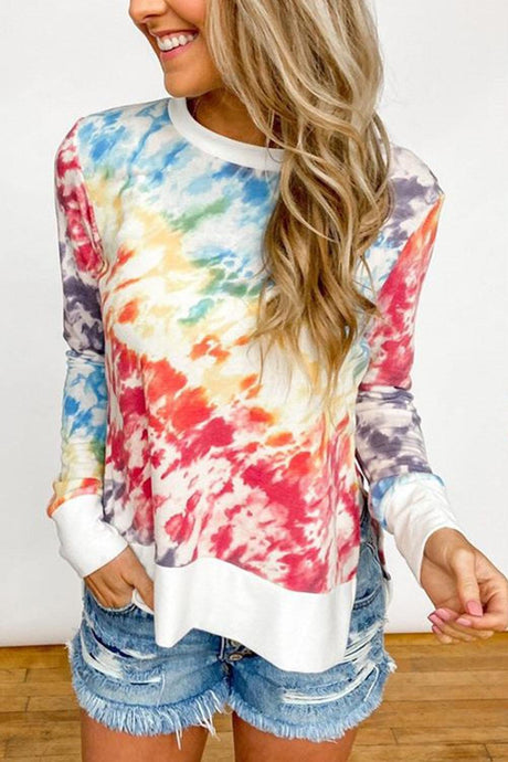 Tie Dye Women Clothes  Fashion Patchwork Long Sleeve T Shirt Women Tops Tee O-Neck Aesthetic Top Female Graphic tees