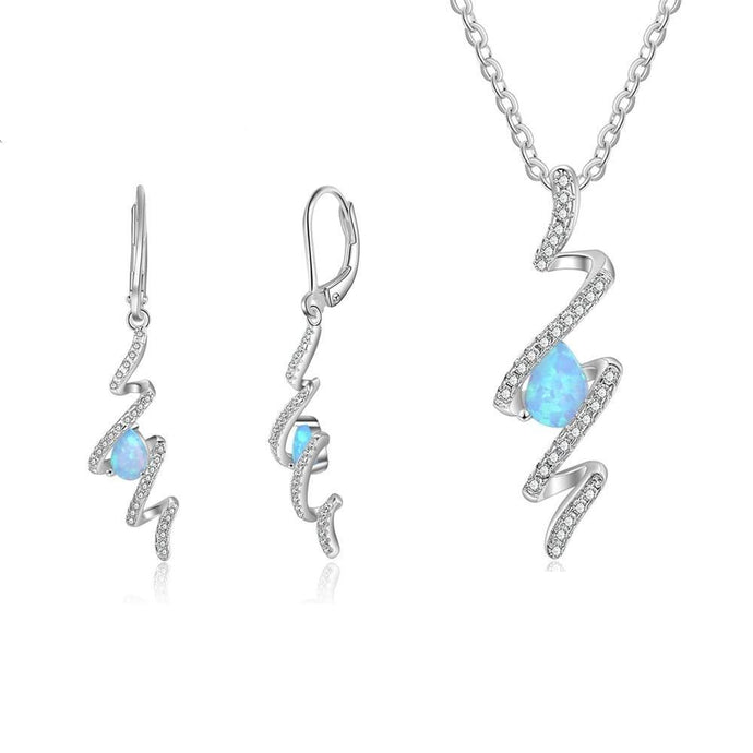 Wedding Bridal Jewelry Sets Twist Spiral Drop Earrings Pendants Necklaces Blue Opal Jewelry Set