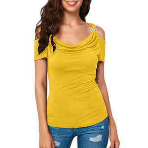 Women Casual Cold Shoulder Draped Collar Top