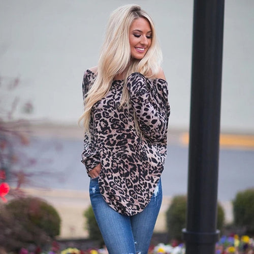 Leopard Print Loose Tops for Women