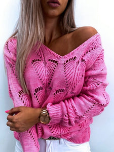 Loose Knitted Hollow Out Pullover