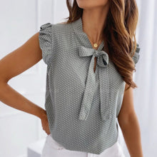 Load image into Gallery viewer, Women Short Sleeves Bow Lace Up Polka Dot Blouse
