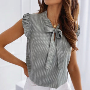 Women Short Sleeves Bow Lace Up Polka Dot Blouse