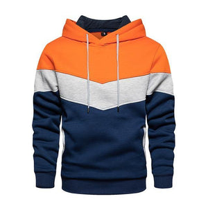 Men Hoodies Sweatshirts Patchwork Color Block Hoodies Cozy Pullover