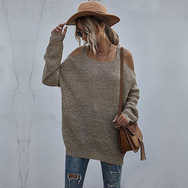 Casual Loose Side Split Off Shoulder Sweaters