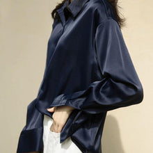 Load image into Gallery viewer, Button Up Satin Silk Shirt Vintage Loose Blouse