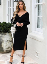 Load image into Gallery viewer, Women's Knitted Long Sleeve Elegant Sweater Dress