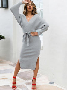 Women's Knitted Long Sleeve Elegant Sweater Dress