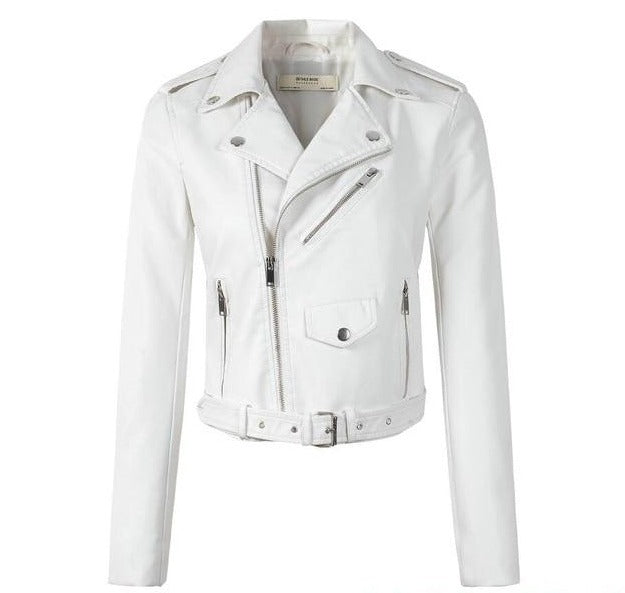 Women Motorcycle PU Leather Jackets