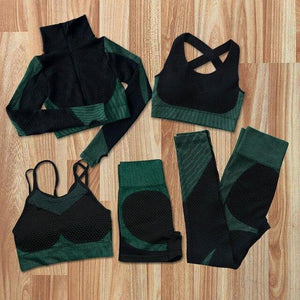 5Pcs Women Seamless Yoga Sets Fitness Sports Suits GYM Clothes