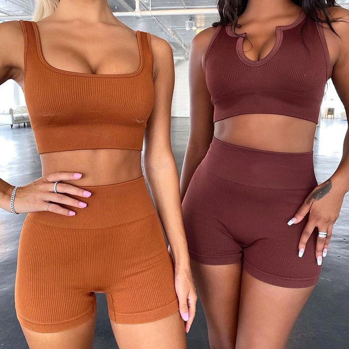Women Seamless Biker Shorts and Crop Tap