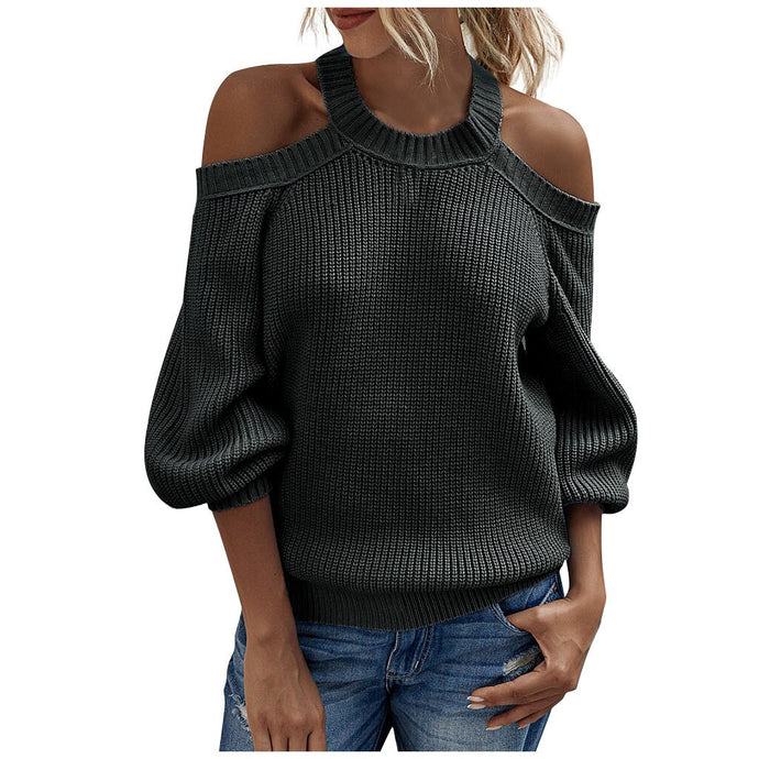 Women Solid Color Off Shoulder Pullover