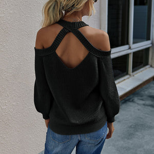 Sexy Women Solid Color Off Shoulder Knit Sweater Halter Neck Pullover