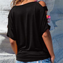 Load image into Gallery viewer, Short Sleeve Cold Shoulder Blouse Solid Casual T Shirt