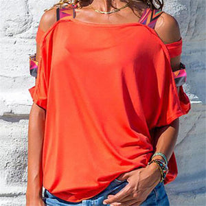 Short Sleeve Cold Shoulder Blouse Solid Casual T Shirt