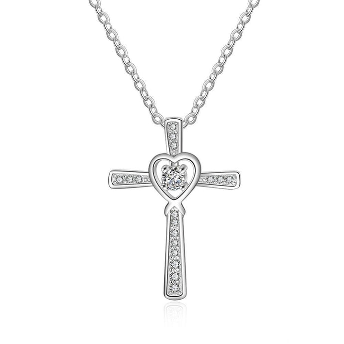 Silver Heart Cross Necklace Full Zirconia Paved Pendant