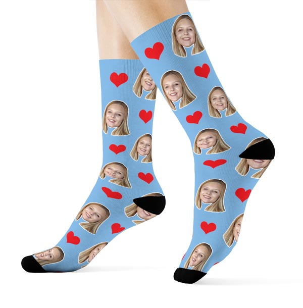 custom face socks blue
