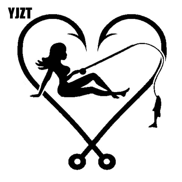 YJZT 12.6cm*13cm I LOVE FISHING SEXY GIRL HOOK HEART FISH FISHING LINE Vinyl Decals Car Sticker Black Silver C11-0202