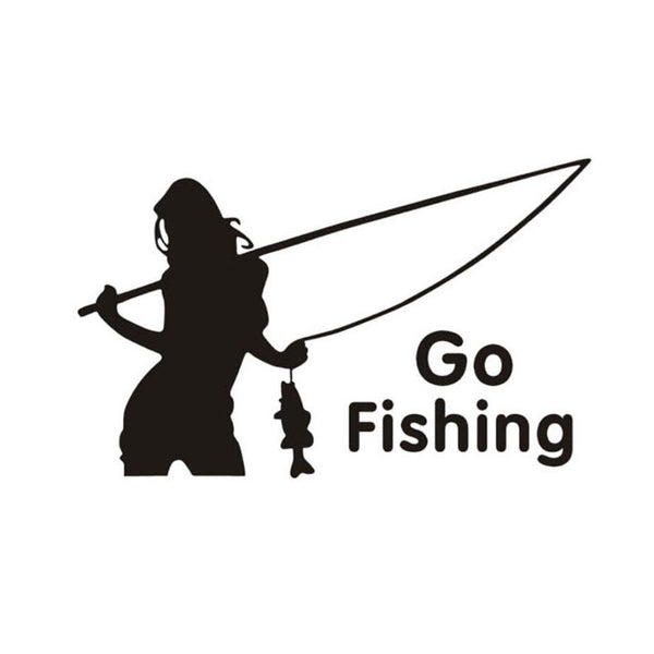 16.8cm*10.9cm Go Fishing Woman Fish Stickers Decals Vinyl S9-0002