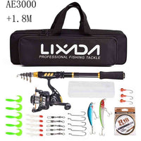 Portable Telescopic Fishing Rod Combo and Reel Full Kit Spinning Fishing Reel Gear Pole Set 100M Fishing Line Lures Hooks Jig Head