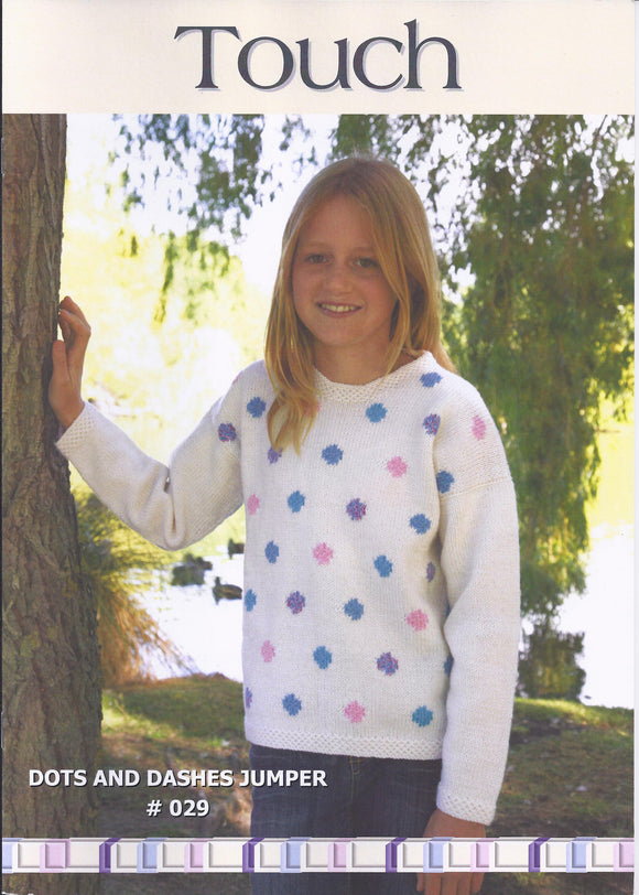 Dots and Dashes Childrens Jumper Pattern #029 By Touch Yarns