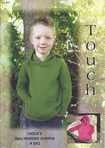 Childs Hooded Jumper Pattern #042 By Touch Yarns