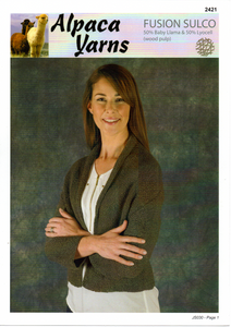 Garter Stitch Cardigan #2421 by Alpaca Yarns