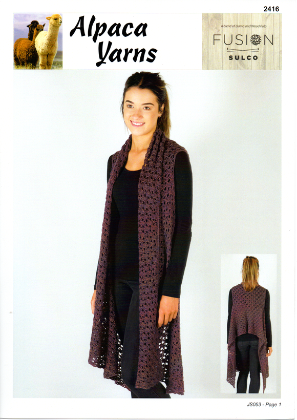 Crochet Wrap Vest #2416 by Alpaca Yarns