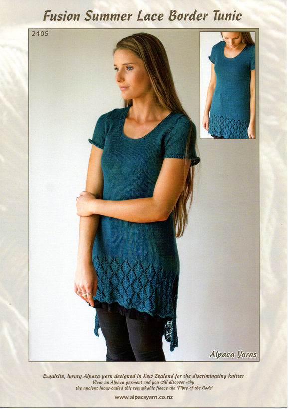 Fusion Summer Lace Border Tunic #2405 by Alpaca Yarns