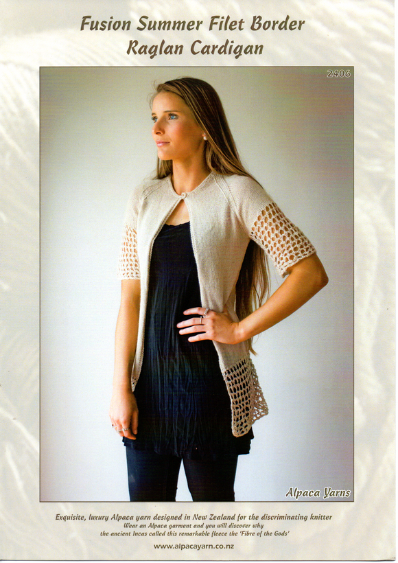 Fusion Summer Filet Border Raglan Cardigan #2406 by Alpaca Yarns