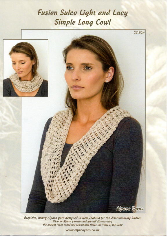 Fusion Sulco Light and Lacy Simple Long Cowl #2400 by Alpaca Yarns