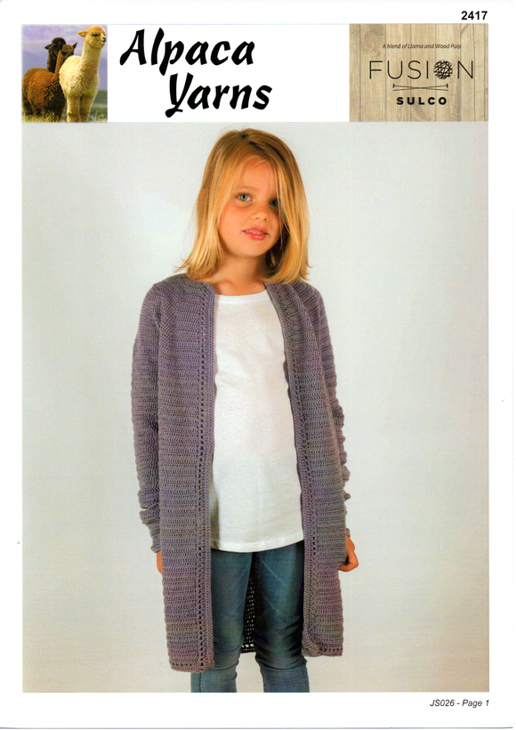 Crochet Girls Cardigan #2417 by Alpaca Yarns