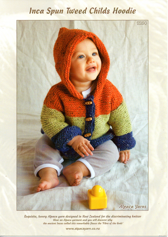 Inca Spun Tweed Childs Hoodie #1214 by Alpaca Yarns