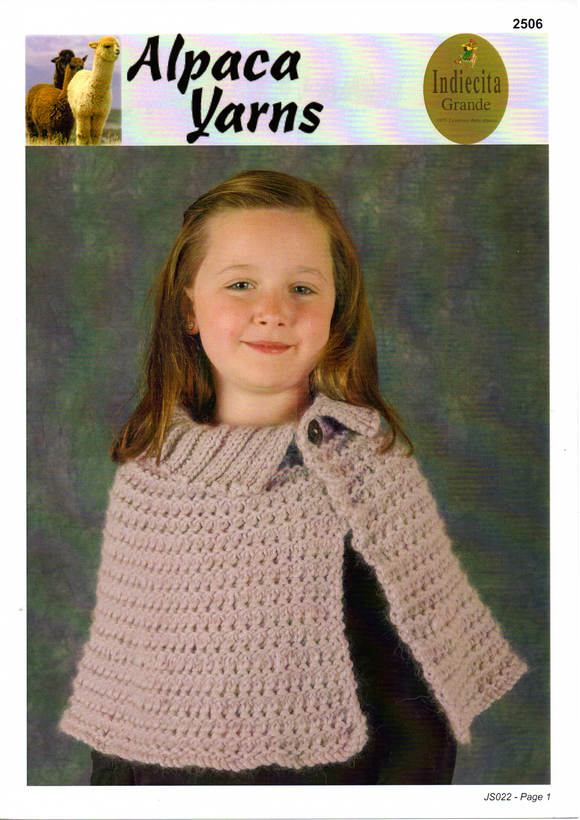 Girls Cape #2506 by Alpaca Yarns